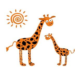 Dessin d'une girafe, d'un girafon et d'un soleil